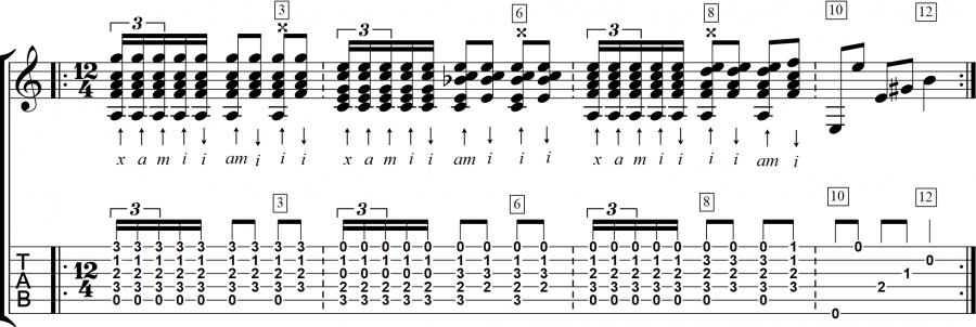Soleares compas met variatie in akkoorden en rasgueados